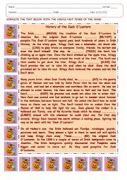 English Worksheet: THE HISTORY OF JACK O LANTERN