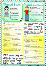 English Worksheet: Present Simple vs Present Continuous *KEY included*