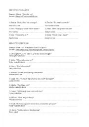 English Worksheet: Reported Speech - Questions and Commands