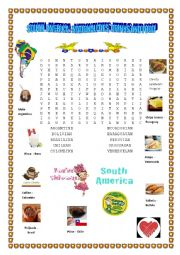 English Worksheet: South America: Nationalities, drinks and food