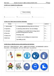 English Worksheet:  Lesson 5:Safety at home