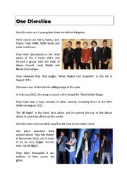 English Worksheet: One Direction Comprehension