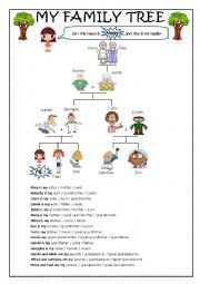 English Worksheet: Family vocab worksheet : Molly�s family tree