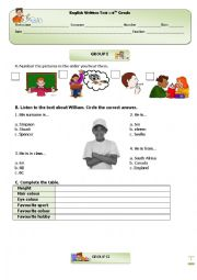 English Worksheet: Test : 6th Grade - Part I