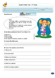English Worksheet: Test:   5th  Grade