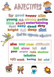 English Worksheet: OPPOSITE ADJECTIVES