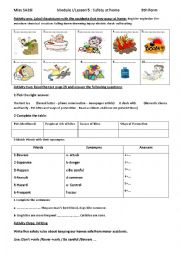 English Worksheet: Lesson 5: Safety at home (part two)