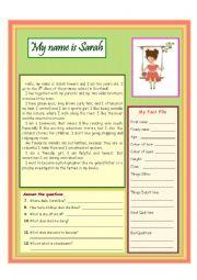 English Worksheet: My name is Sarah