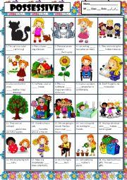 English Worksheet: POSSESSIVE ADJECTIVES + KEY