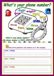 English worksheets: What´s your phone number?