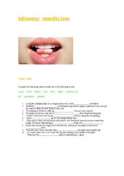 English Worksheet: idioms: medicine
