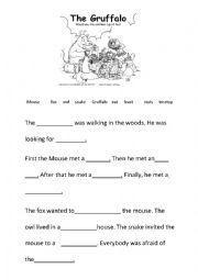 English Worksheet: The Gruffalo cloze test