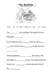 English Worksheet: The Gruffalo cloze test