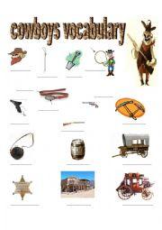 English Worksheet: COWBOYS VOCABULARY