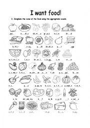 English Worksheet: I want food!