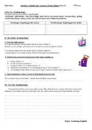 English Worksheet: Module I/Lesson4: Pocket Money