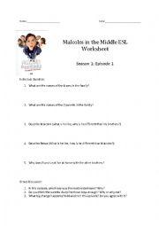 English Worksheet: Malcolm in the Middle ESL Worksheet  Season 1: Episode 1