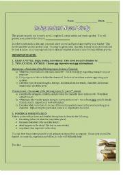 English Worksheet: Book Report & Presentation