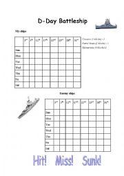 English Worksheet: D-Day Battleship