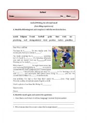 English Worksheet: guided writing: an informal email