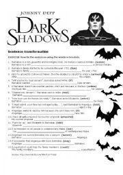 English Worksheet: Dark Shadows
