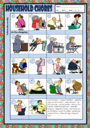 English Worksheet: HOUSEHOLD CHORES + KEY