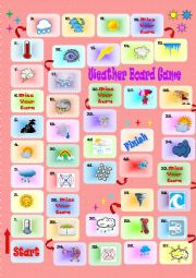 English Worksheet: Weather Board Game