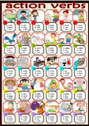 English Worksheet: action verbs