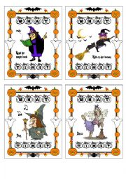 Halloween Memory Game with Simple Present and What Time part 1