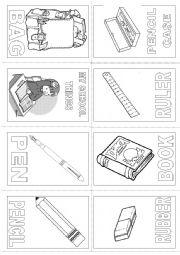 English Worksheet: My School things mini book