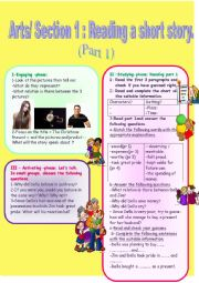 English Worksheet: Reading a short story:The christmas present. 3rd form (Arts)Part 1