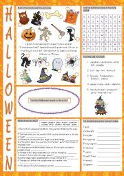 English Worksheet: Halloween Vocabulary Exercises