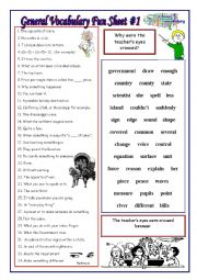 English worksheet: General Vocab Fun Sheet #1