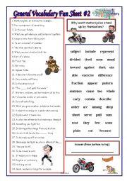 English worksheet: General Vocabulary Fun Sheet #2