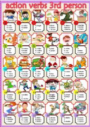English Worksheet: action verbs 3rd person
