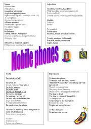 English Worksheet: mobile phones vocabulary