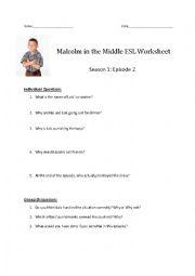 English Worksheet: Malcolm in the Middle ESL Worksheet - Season 1: Episode 2