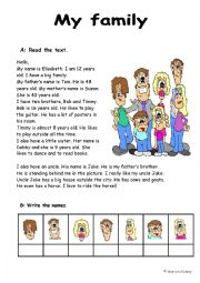 Family reading with exercises (2 pages)