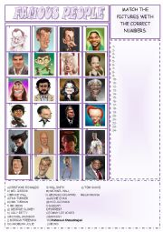 English Worksheet: FAMOUS PEOPLE - ICE BREAKER