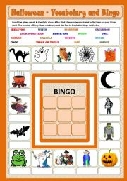 Halloween - Vocabulary and Bingo