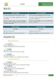 English Worksheet: Dates in English