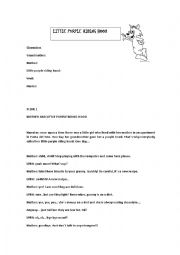 English Worksheet: script! little purple riding hood