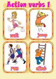 English Worksheet: Action verbs 1 - Flashcards