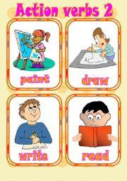 English Worksheet: Action verbs 2 - Flashcards