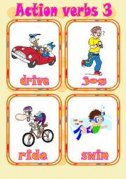English Worksheet: Action verbs 3 - Flashcards
