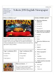 English Worksheet: School Newspaper Halloween edition