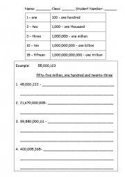 English Worksheet: Big numbers practice