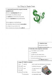 English Worksheet: Ka Ching - Shania Twain