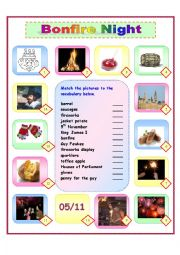 English Worksheet: Guy Fawkes/Bonfire Night Matching