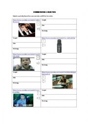 English Worksheet: tv commercials analysis